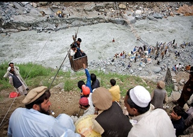 Four youth from Tangir Valley fall in the Indus River as a rope trolley carrying them snaps