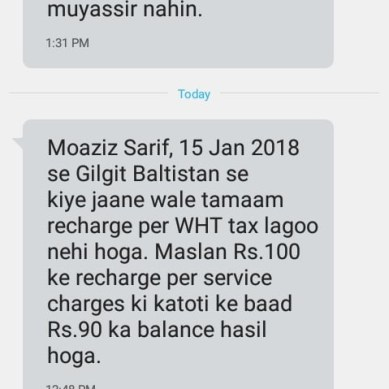 Telenor to stop deduction of Withholding Taxes in Gilgit-Baltistan form Jan 15