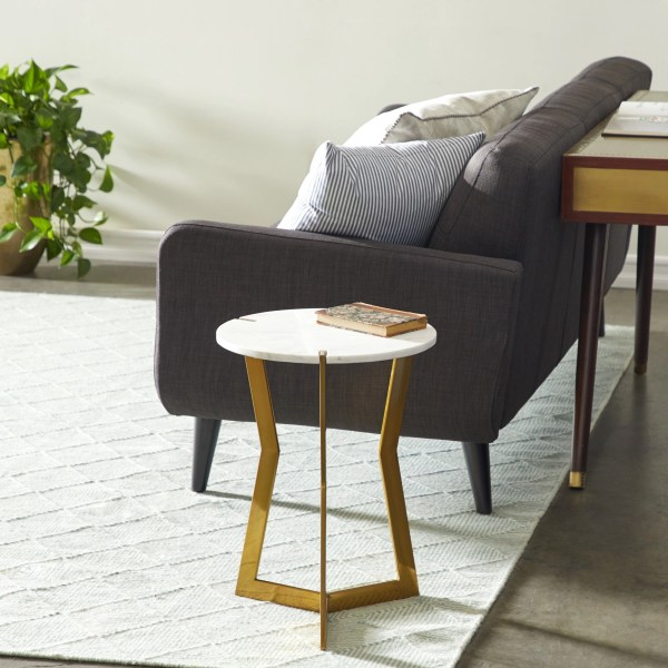 Brass Marble Top End Table