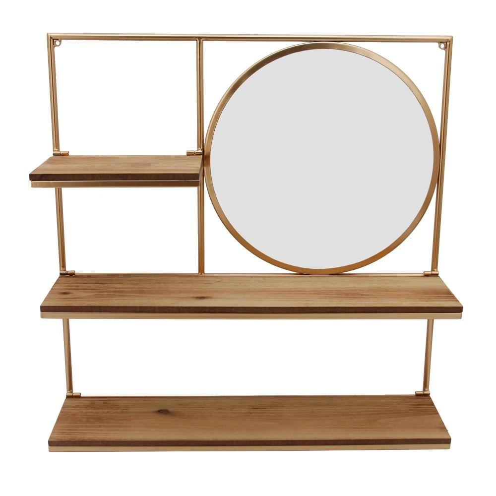 Palma Wall Shelf with Round Mirror