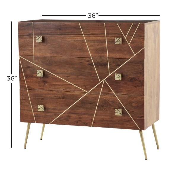 Wood With Metal Inlay Dresser