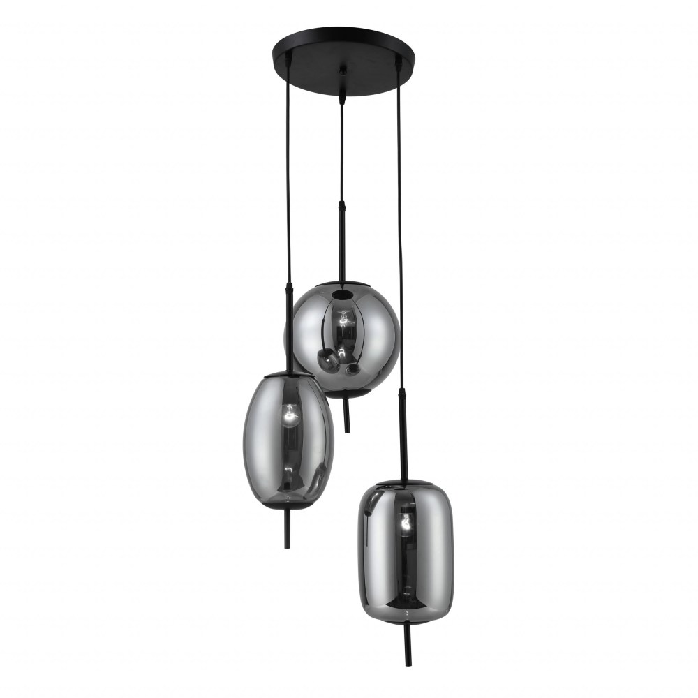 Richmond Pendant Lamp, 3-Light with Smoke Glass