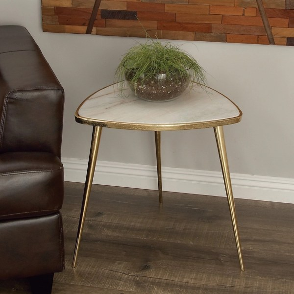 Triangle Aluminum And Marble Accent Table