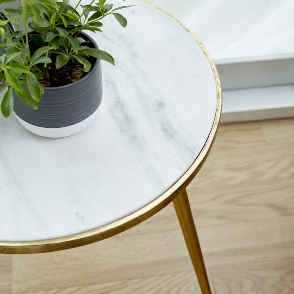 Aluminum And Marble Accent Table