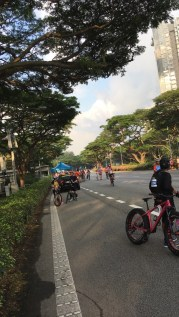Part of ECP was closed for us to cycle.