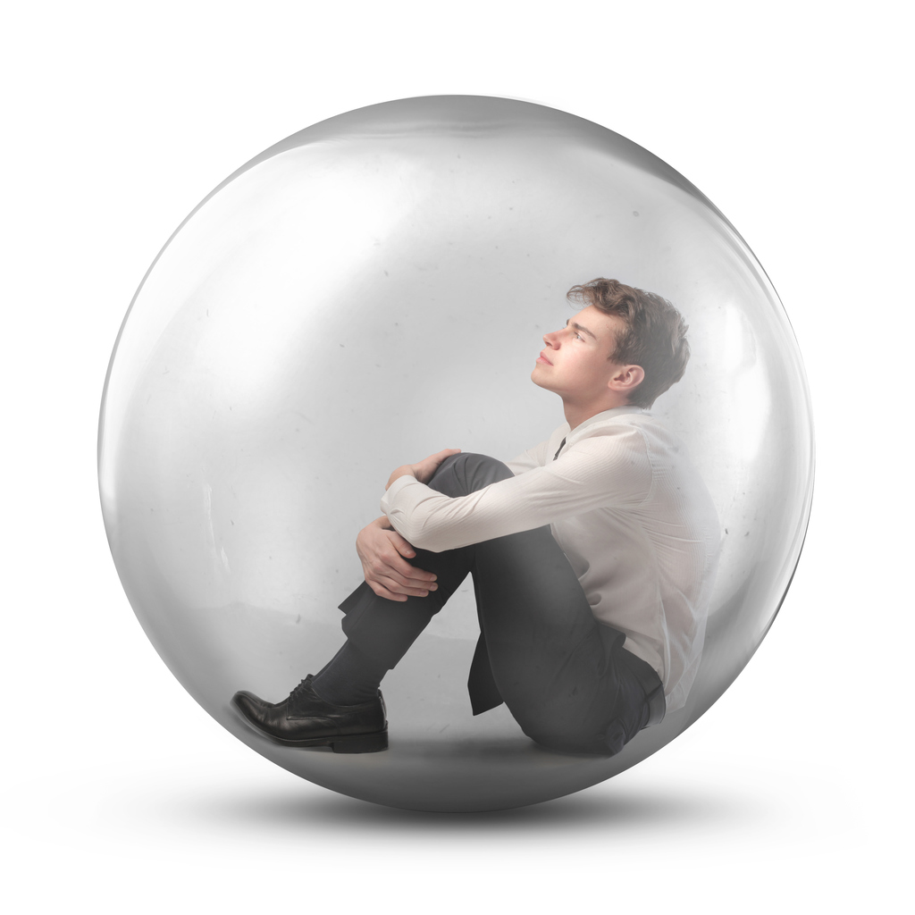 Man in a protective bubble