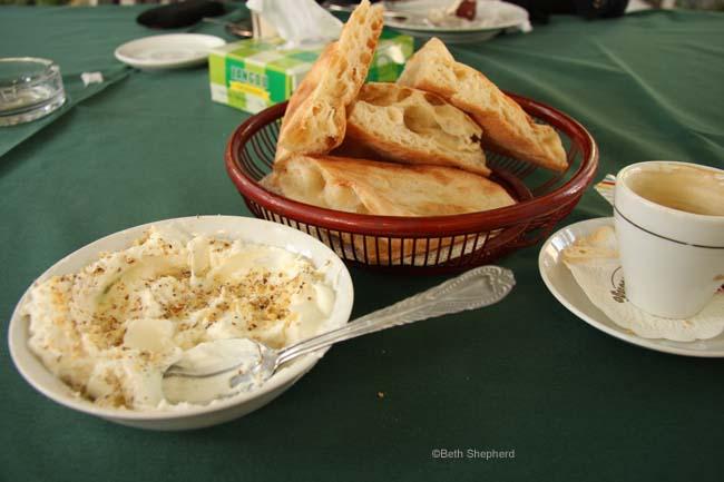 Yogurt and bread in Armenia