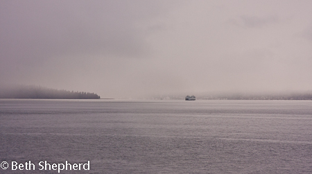 Seattle ferry in the mist