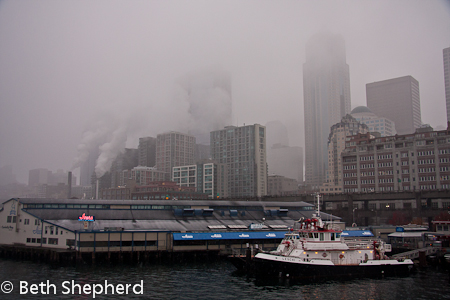 Seattle in the clouds, fog and smoke