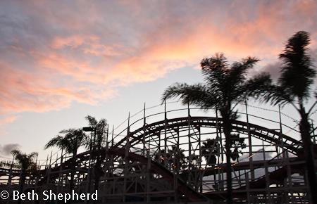 San Diego Belmont roller coaster at sunset