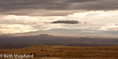 Mt Aragats under clouds