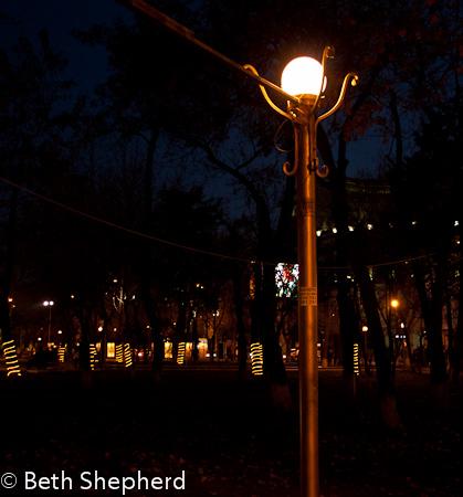 Yerevan park at night, Armenia