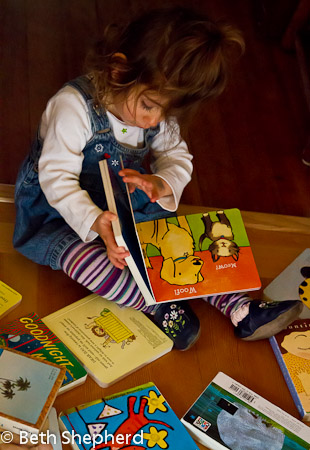 A baby and her books 5