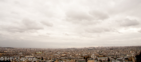 Paris under clouds from Montmarte