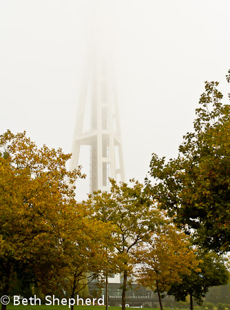 Space Needle in fog