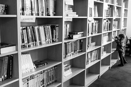 Amazon bookshelf and little reader