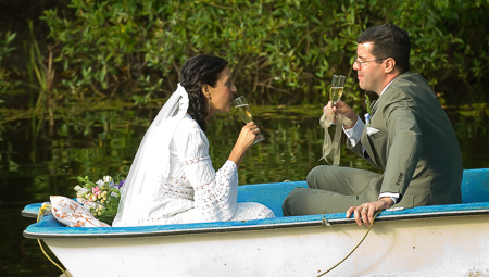 Toast in the rowboat after the wedding