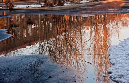 Gyumri puddle relection