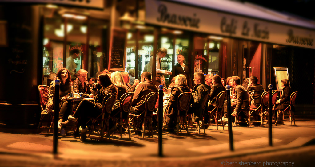 Paris Cafés at night