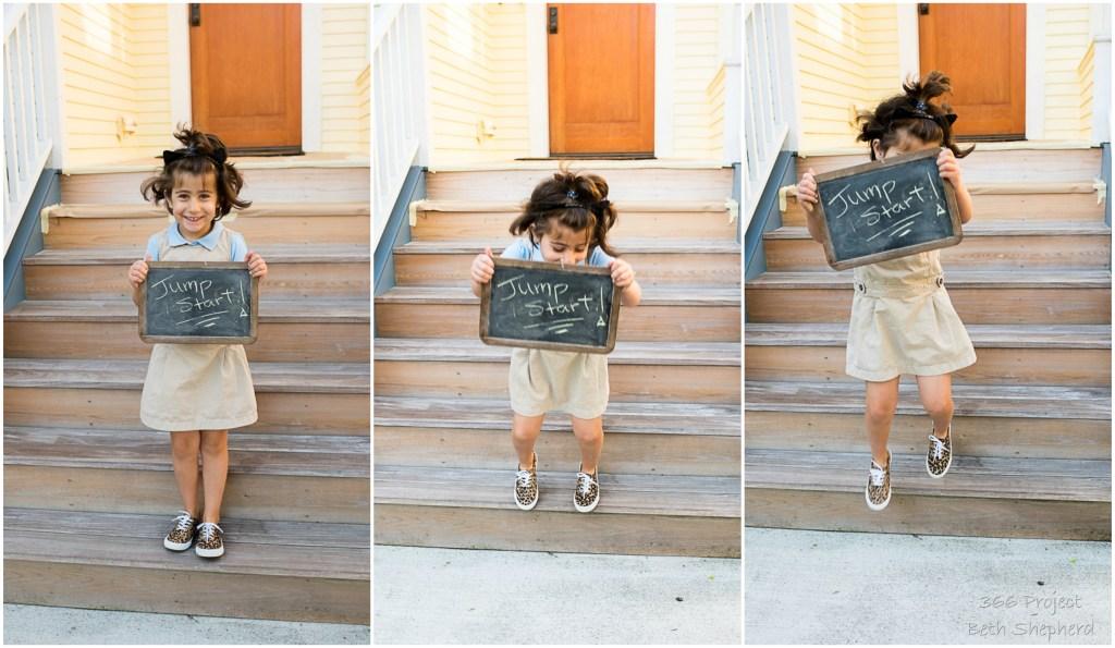 kindergarten daughter goes to school