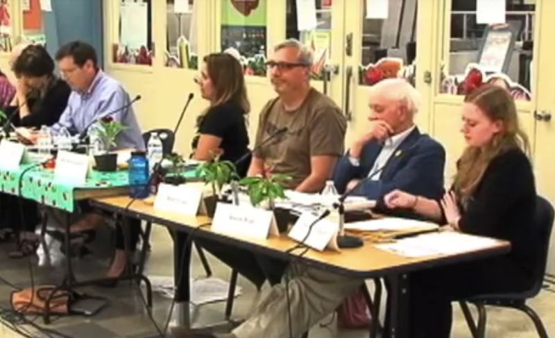 SCREENSHOT: PPS.NET - Portland Public Schools board member Mike Rosen (center) at the May 17 board meeting.