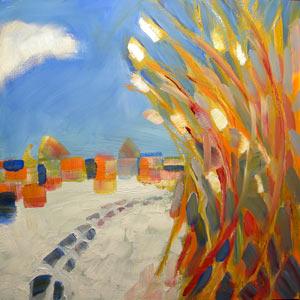 Pam Van Londen 2009, PA Snowfall 1, 8×8x1 on oil on clayboard