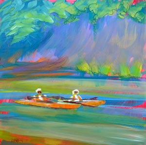 © Pam Van Londen 2010, Coastal Conoes, oil on claybord, 8x8