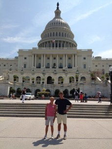 Pam with Alex in front of the Capital Building - July 2013
