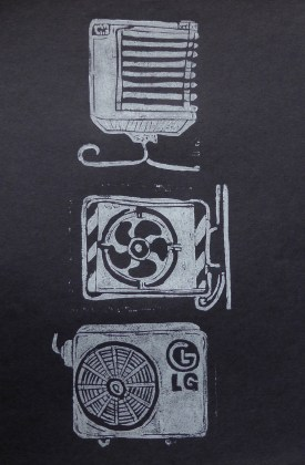 white on black linoprint