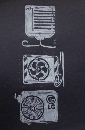 white on black linoprint