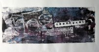 monoprint - bridge and boat