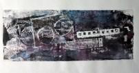 monoprint - bridge and boat