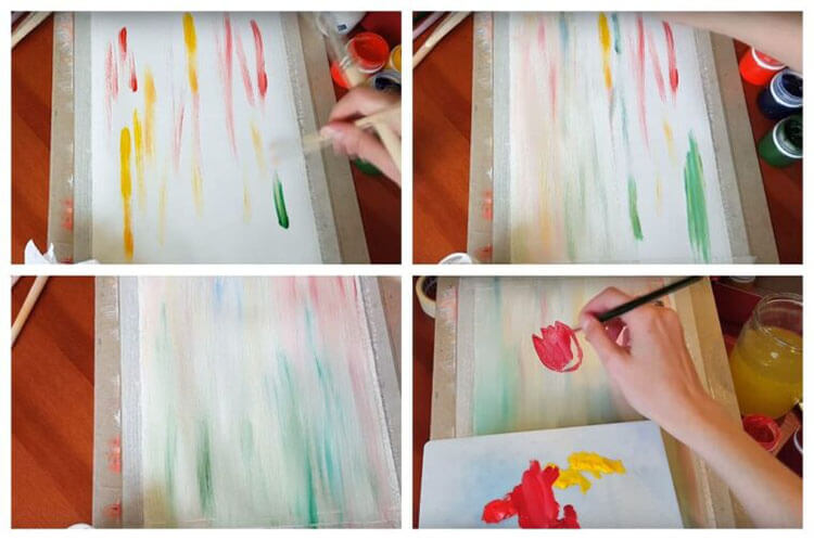 Βήμα προς βήμα σχέδιο τουλιπών με χρώματα