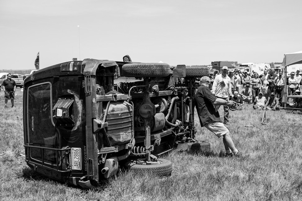 Rolled vehicle demonstration at Overland Expo 2014