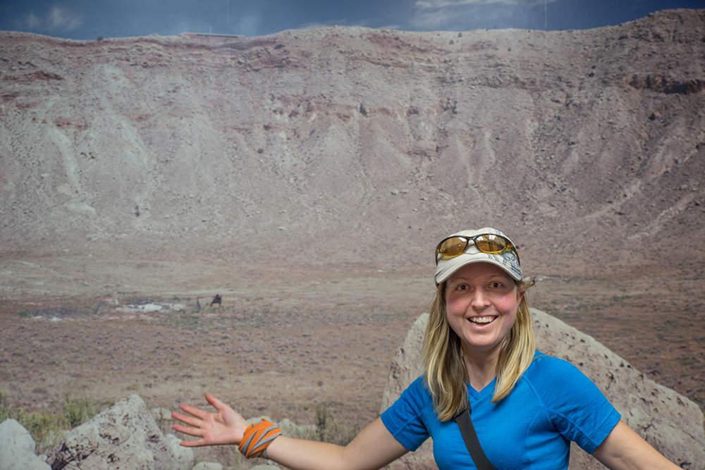 Emma poses for a corny tourist photo