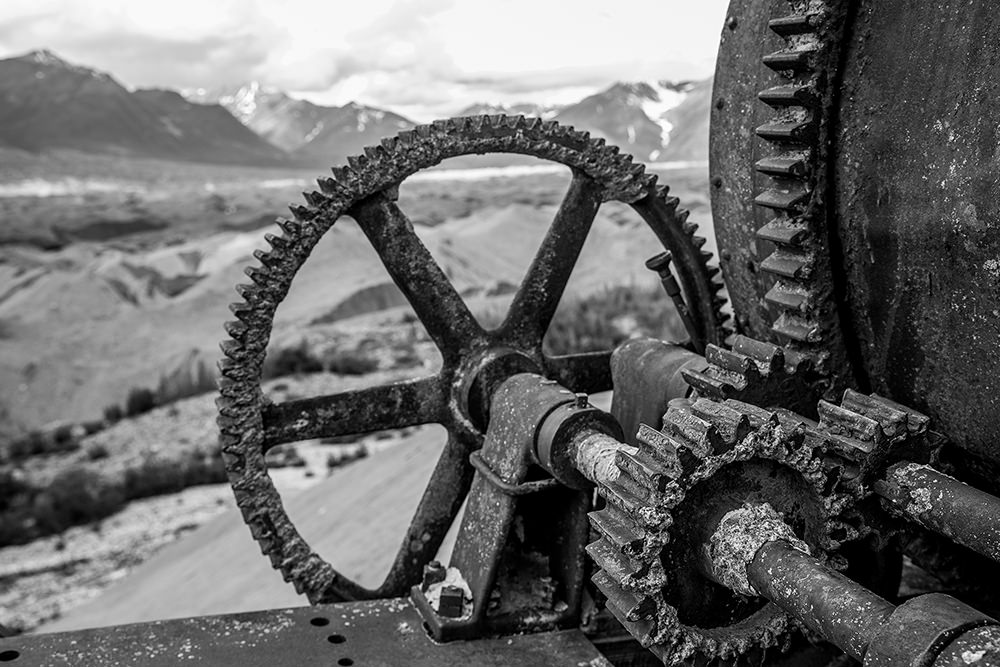 The kennicott glacier valley and old machinery, Kennecott, Alaska