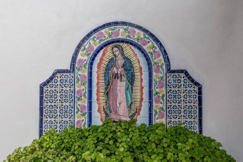 Interior tiling depicting Nuestra Señora de Guadalupe.