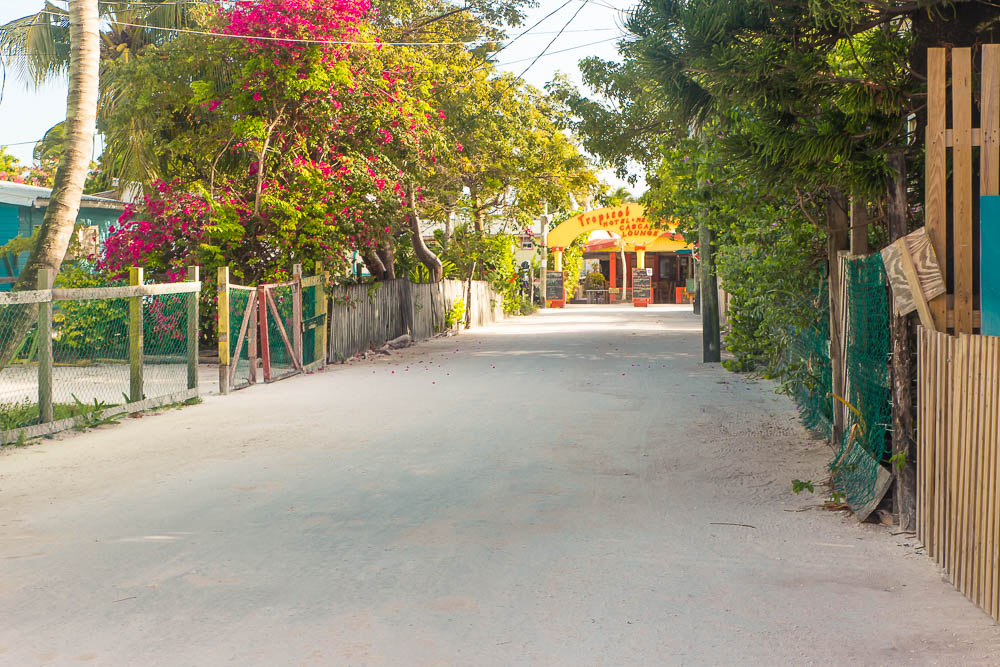 The quiet streets of Caye Caulker.