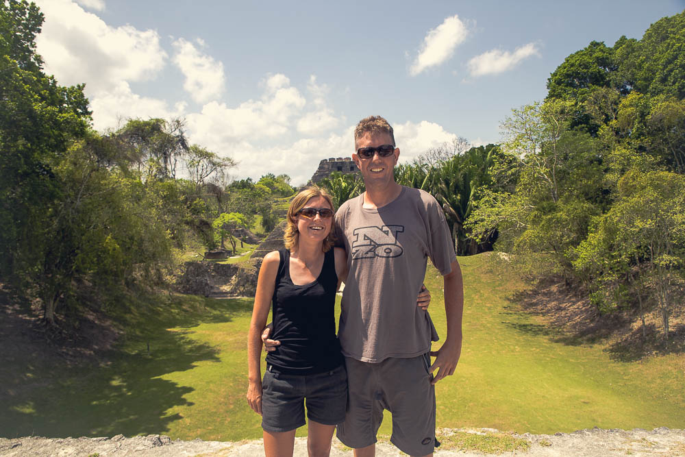 Somehow we manage to both look awkward and obscure the second tallest structure in Belize. These are the photos I will treasure.