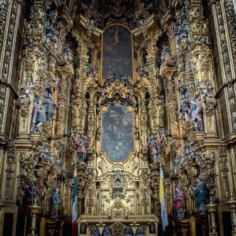 Lavishly detailed altar of kings.