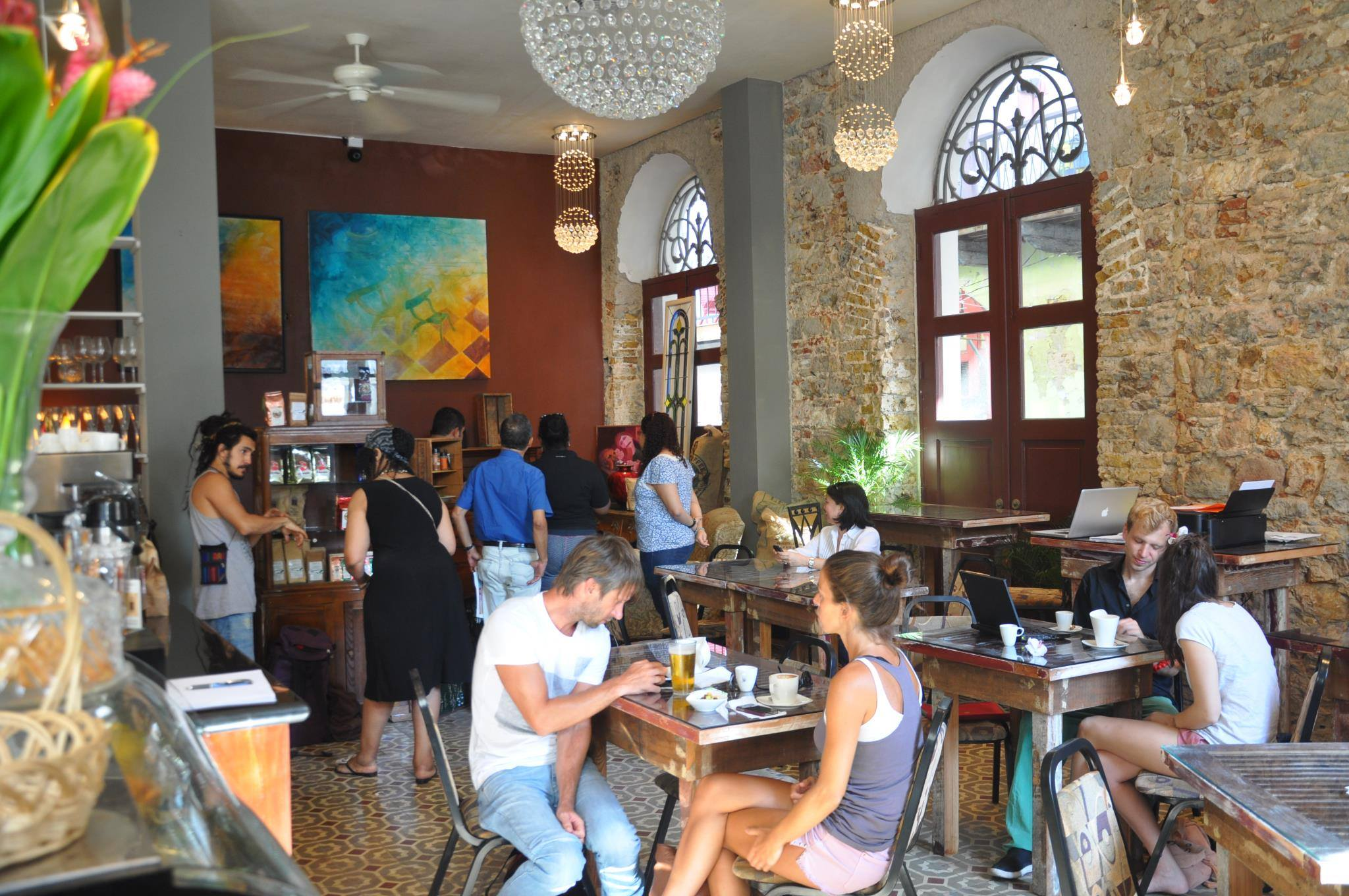 Clients of Casa Sucre Coffeehouse in Casco Viejo Panama