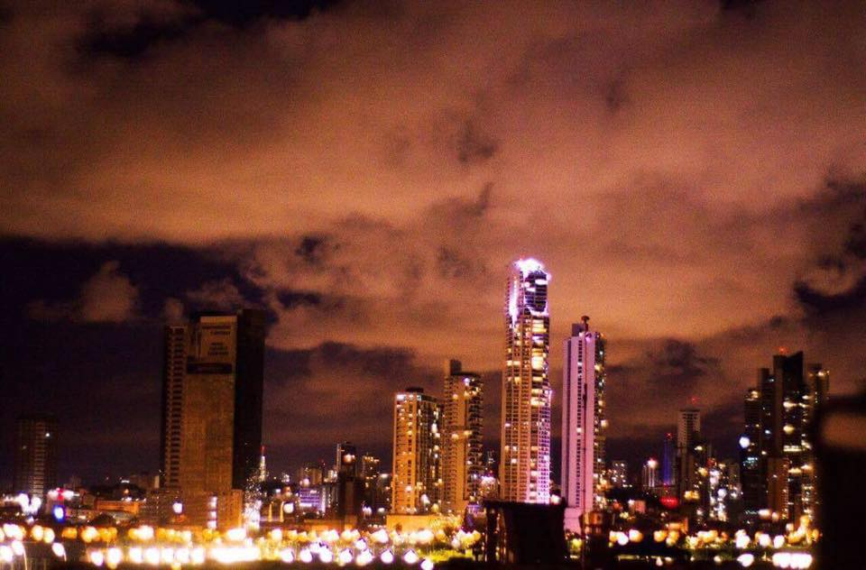 view of panama city skyline from Gatto Blanco Party Hotel at night