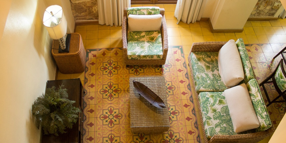 Arco Chato suite gorgeous mosaic floors under the living room at Casa Antigua Hotel