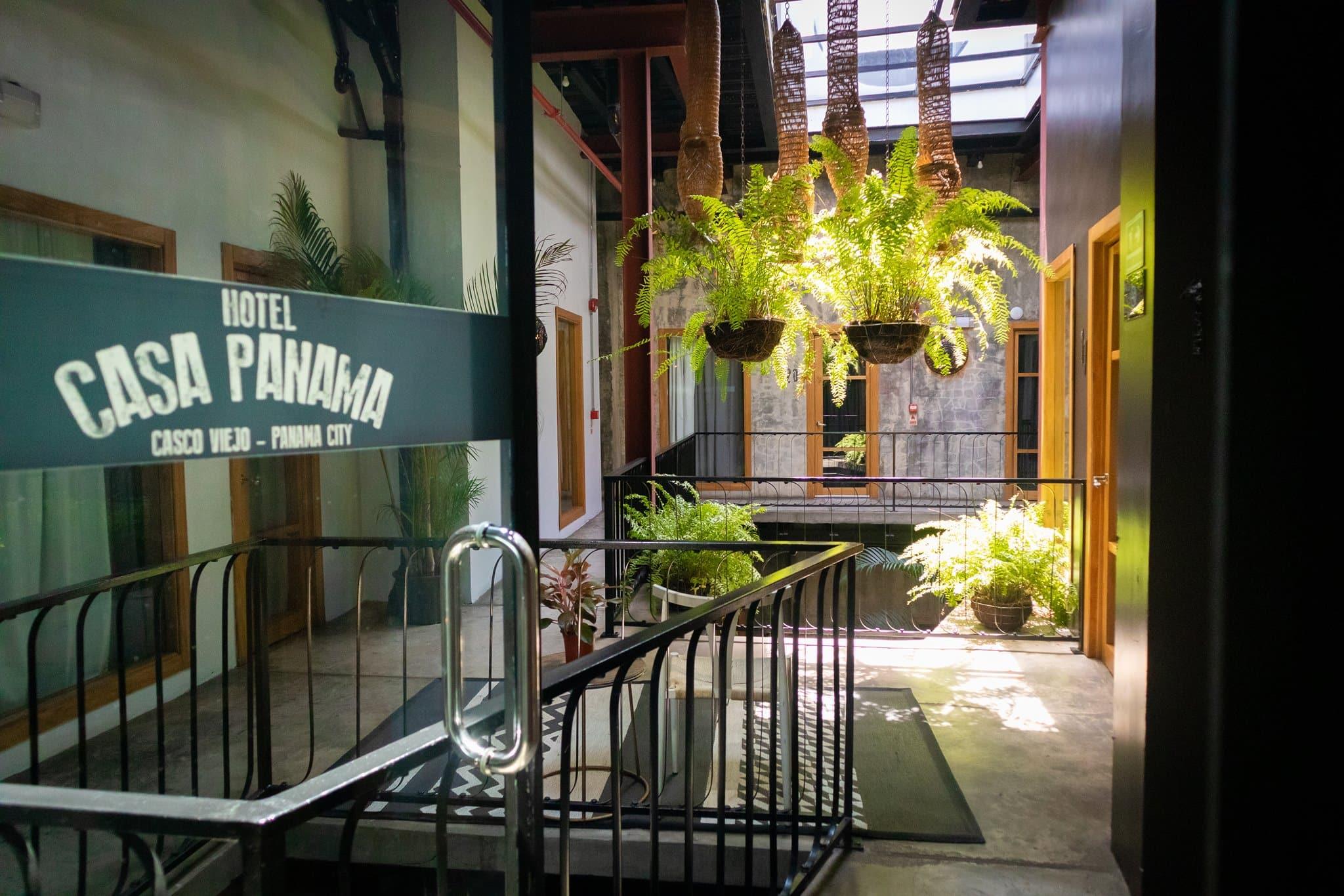 Glass door leading into Hotel Casa Panama