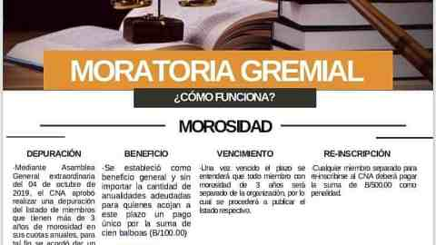 COMUNICADO- MORATORIA GREMIAL