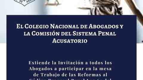 INVITACIÓN- Mesa de Trabajo de las reformas al Código Procesal Penal Ley 63 del 2008