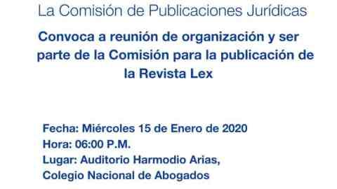 CONVOCATORIA: Comisión de Publicaciones Jurídicas