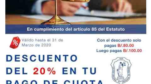 DESCUENTO 20% EN TU CUOTA ANUAL 2020