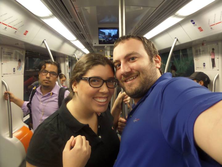 My wife and I taking the Metro for the first time