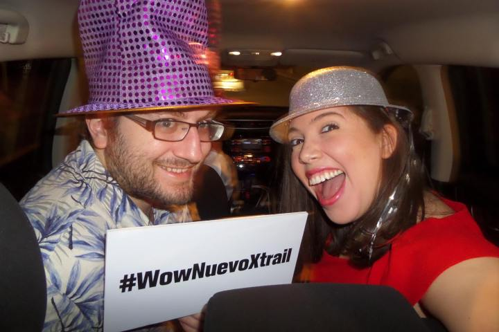 My wife and I in an Uber car taking part in a contest for a free weekend getaway. We won!